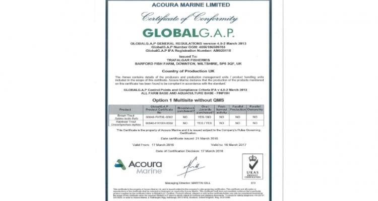 Trafalgar Fisheries achieves Global G.A.P. Certification